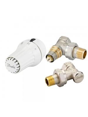 DANFOSS set rohový - termostatická hlavica RAE 5054, šróbenie RLV-S a ventil RA-N 013G5173